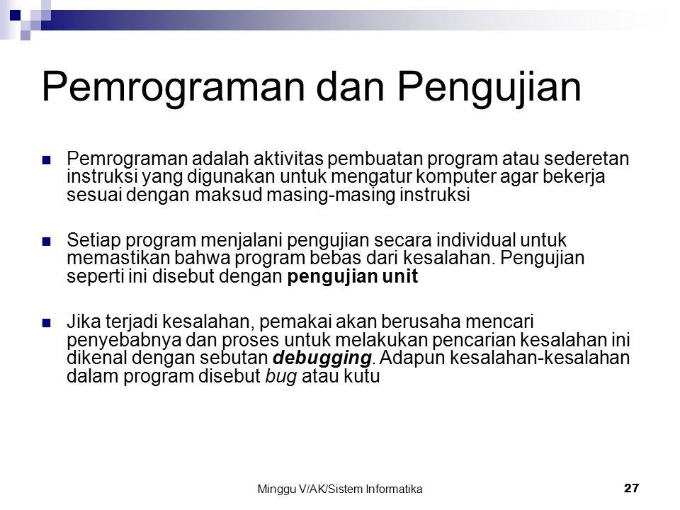 Minggu V/AK/Sistem Informatika 27 Pemrograman dan Pengujian Pemrograman adalah aktivitas pembuatan program atau sederetan instruksi yang digunakan unt