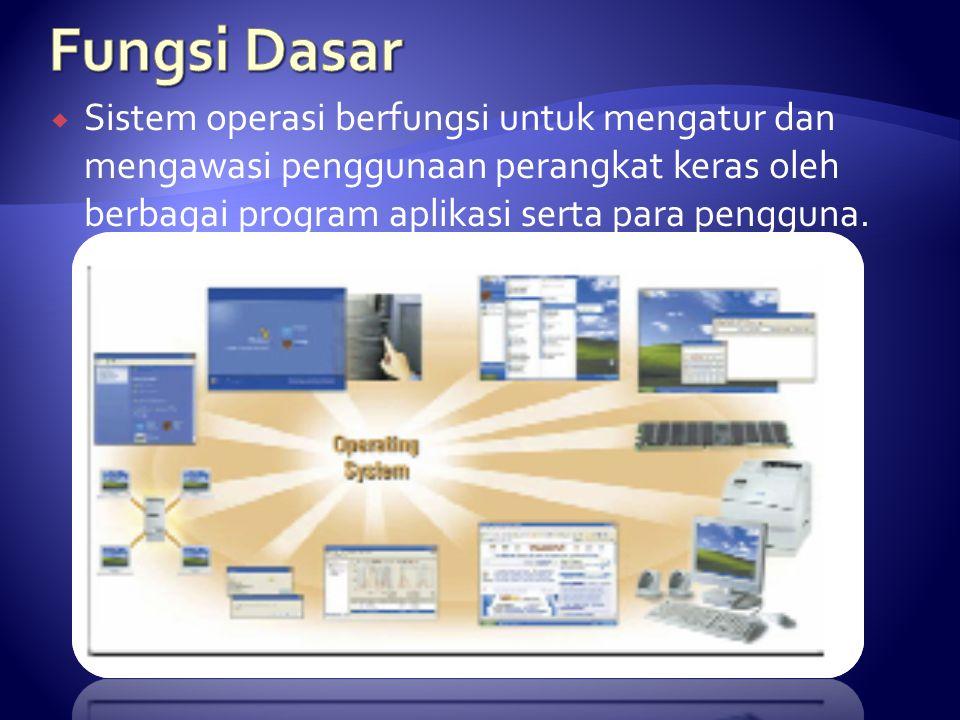  Sistem operasi berfungsi untuk mengatur dan mengawasi penggunaan perangkat keras oleh berbagai program aplikasi serta para pengguna.