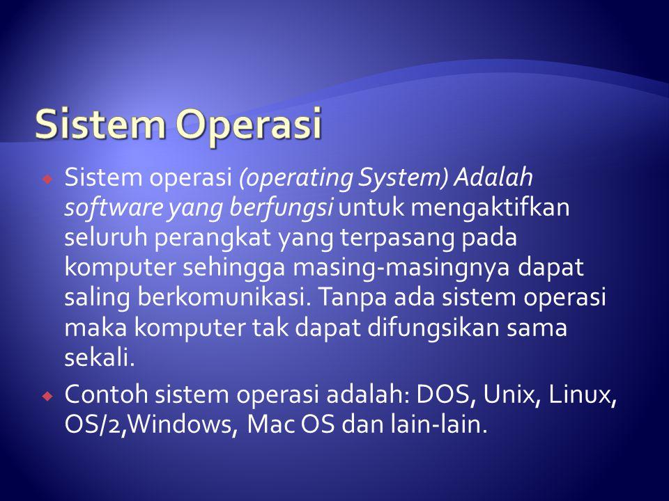  Sistem operasi (operating System) Adalah software yang berfungsi untuk mengaktifkan seluruh perangkat yang terpasang pada komputer sehingga masing-m