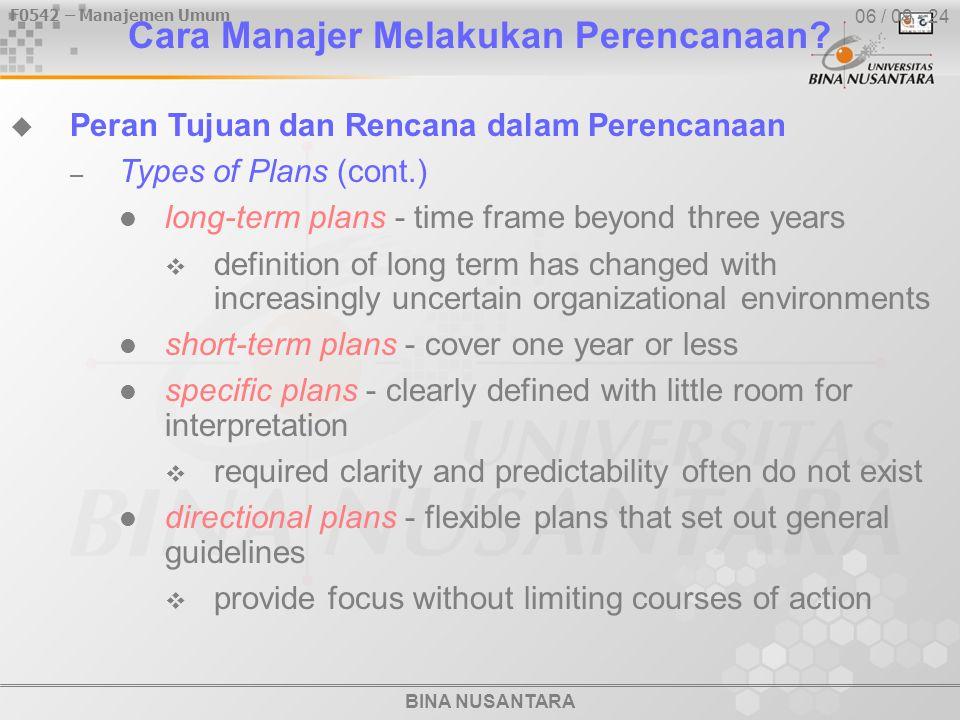 BINA NUSANTARA F0542 – Manajemen Umum 06 / 09 - 24 Cara Manajer Melakukan Perencanaan.