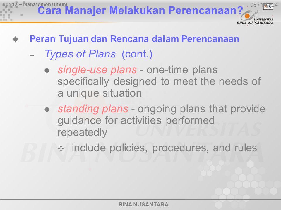 BINA NUSANTARA F0542 – Manajemen Umum 06 / 10 - 24 Cara Manajer Melakukan Perencanaan.