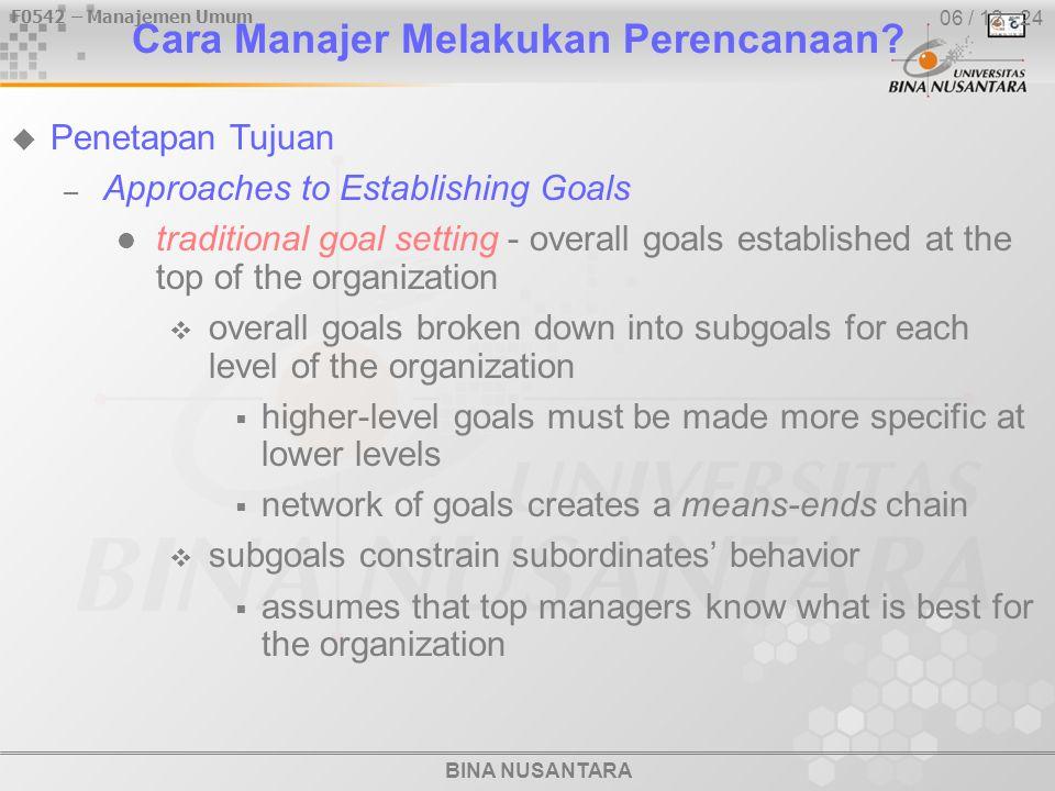 BINA NUSANTARA F0542 – Manajemen Umum 06 / 12 - 24 Cara Manajer Melakukan Perencanaan.
