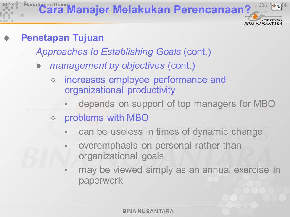 BINA NUSANTARA F0542 – Manajemen Umum 06 / 15 - 24 Cara Manajer Melakukan Perencanaan.