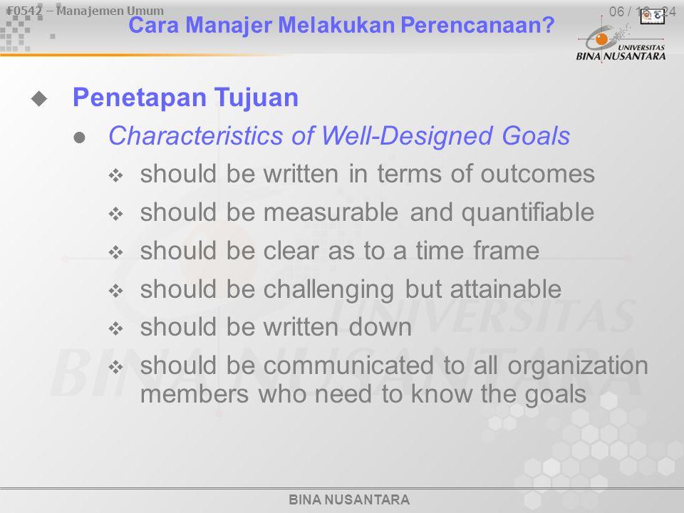 BINA NUSANTARA F0542 – Manajemen Umum 06 / 16 - 24 Cara Manajer Melakukan Perencanaan.