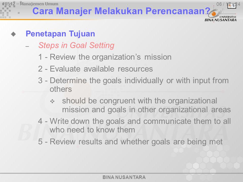 BINA NUSANTARA F0542 – Manajemen Umum 06 / 17 - 24 Cara Manajer Melakukan Perencanaan.