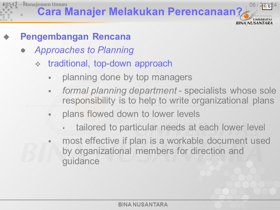 BINA NUSANTARA F0542 – Manajemen Umum 06 / 21 - 24 Cara Manajer Melakukan Perencanaan.