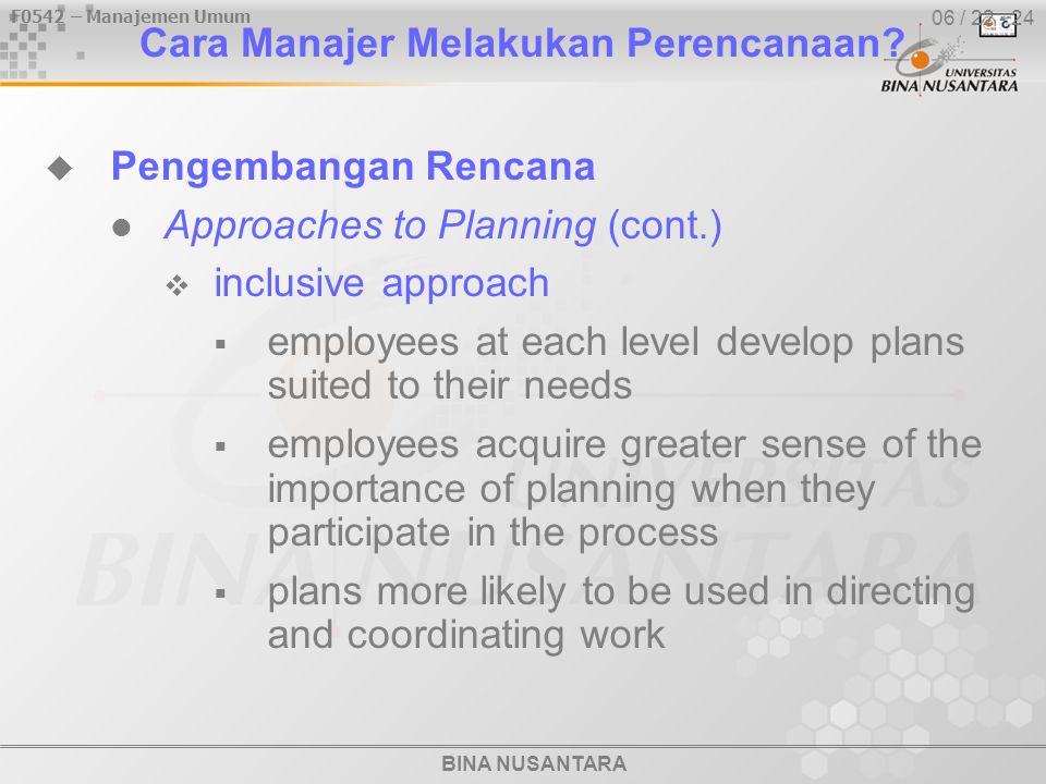 BINA NUSANTARA F0542 – Manajemen Umum 06 / 22 - 24 Cara Manajer Melakukan Perencanaan.