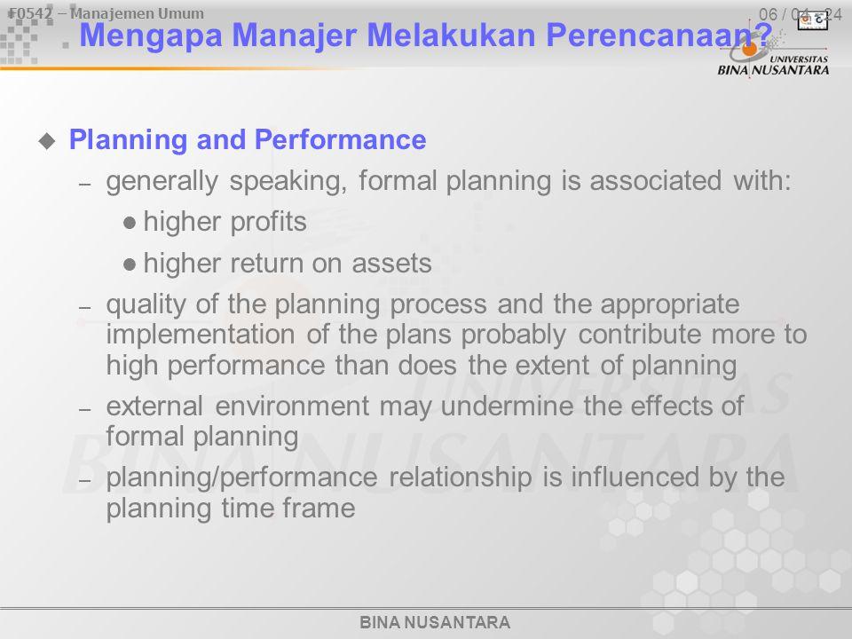 BINA NUSANTARA F0542 – Manajemen Umum 06 / 04 - 24 Mengapa Manajer Melakukan Perencanaan.