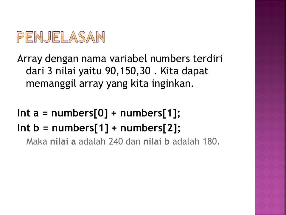 Array dengan nama variabel numbers terdiri dari 3 nilai yaitu 90,150,30.