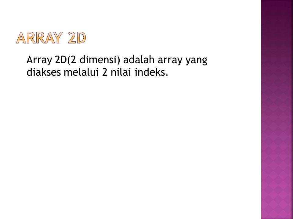 Array 2D(2 dimensi) adalah array yang diakses melalui 2 nilai indeks.
