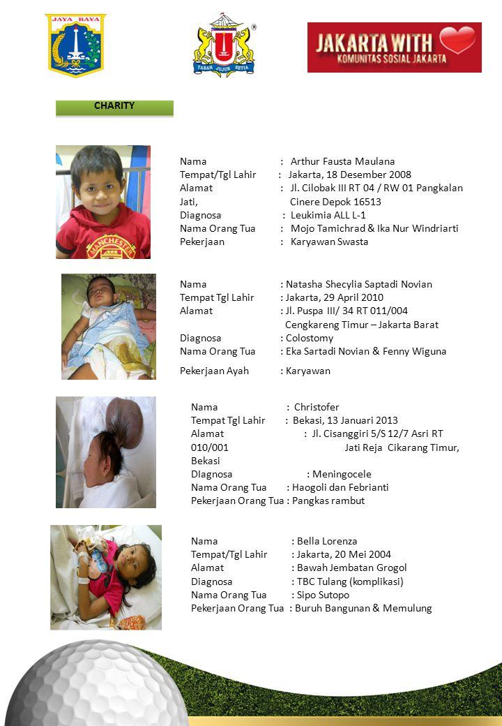CHARITY Nama : Arthur Fausta Maulana Tempat/Tgl Lahir : Jakarta, 18 Desember 2008 Alamat : Jl.