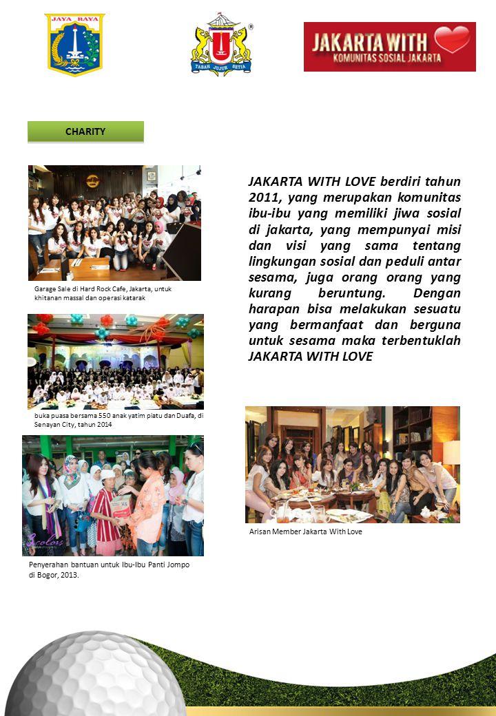 CHARITY JAKARTA WITH LOVE berdiri tahun 2011, yang merupakan komunitas ibu-ibu yang memiliki jiwa sosial di jakarta, yang mempunyai misi dan visi yang sama tentang lingkungan sosial dan peduli antar sesama, juga orang orang yang kurang beruntung.