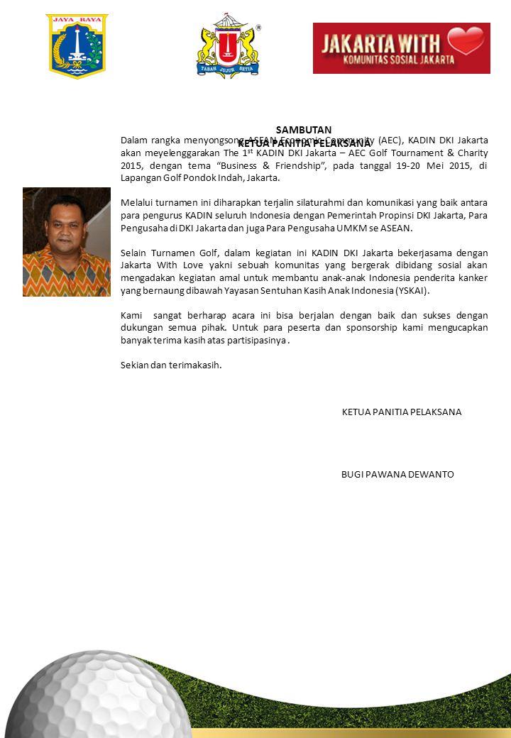 Dalam rangka menyongsong ASEAN Economic Community (AEC), KADIN DKI Jakarta akan meyelenggarakan The 1 st KADIN DKI Jakarta – AEC Golf Tournament & Charity 2015, dengan tema Business & Friendship , pada tanggal 19-20 Mei 2015, di Lapangan Golf Pondok Indah, Jakarta.
