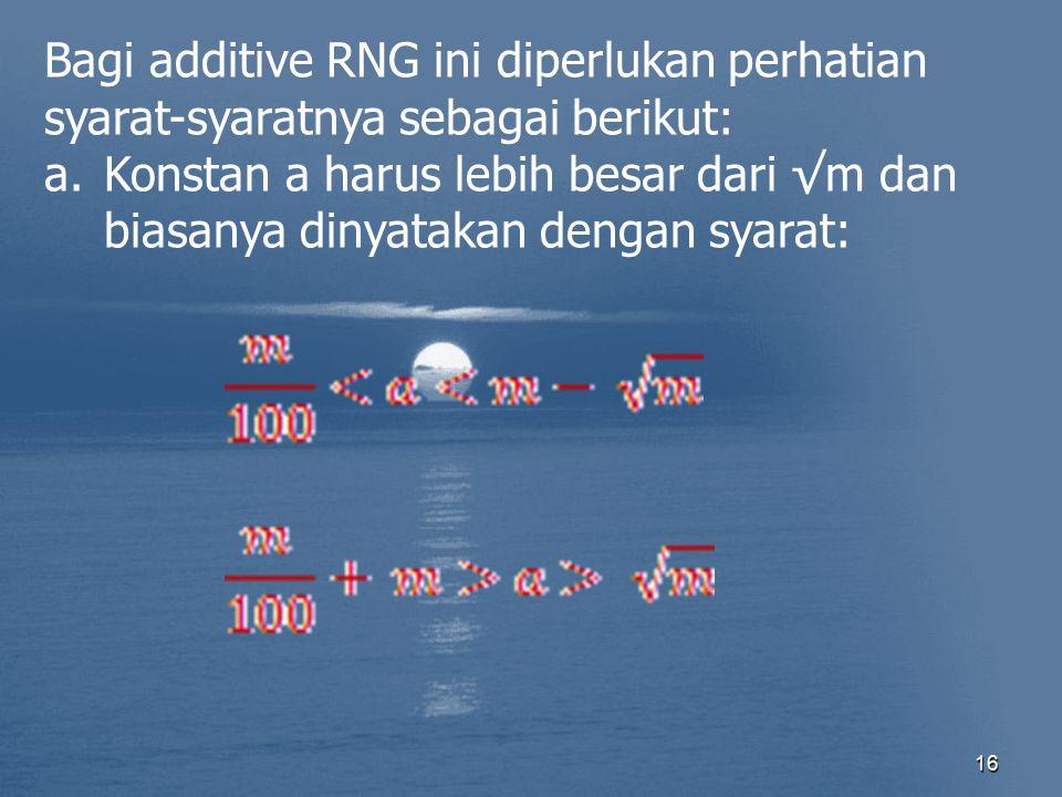 16 Bagi additive RNG ini diperlukan perhatian syarat-syaratnya sebagai berikut: a.Konstan a harus lebih besar dari √m dan biasanya dinyatakan dengan s