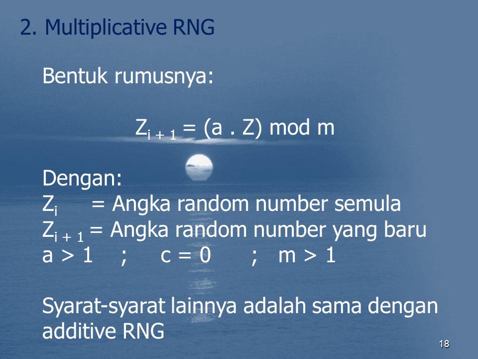 18 2. Multiplicative RNG Bentuk rumusnya: Z i + 1 = (a. Z) mod m Dengan: Z i = Angka random number semula Z i + 1 = Angka random number yang baru a >