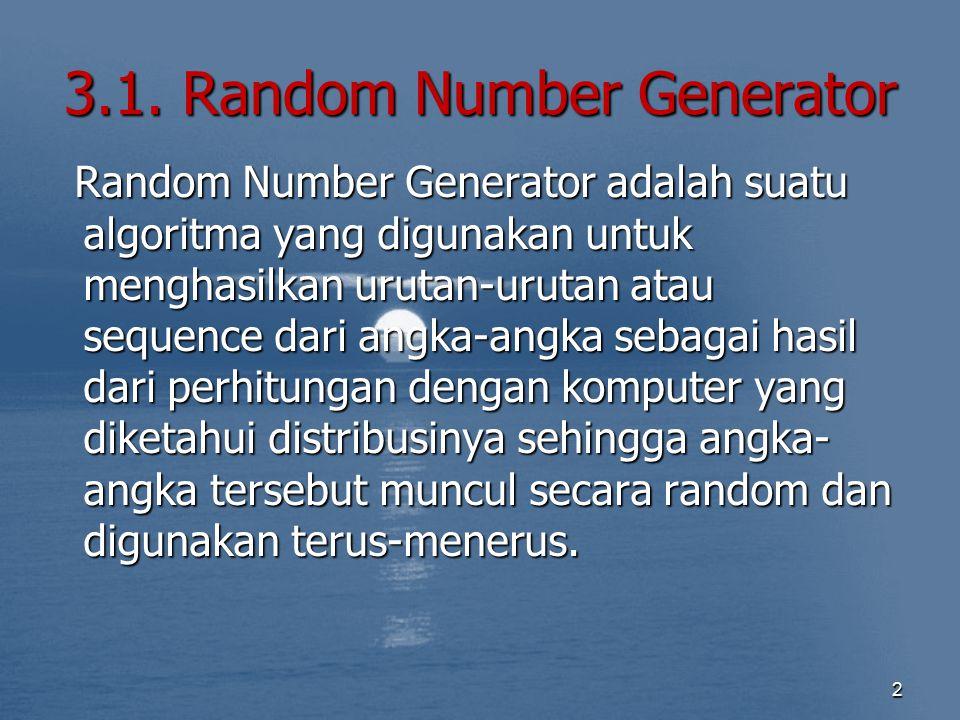 3.1. Random Number Generator Random Number Generator adalah suatu algoritma yang digunakan untuk menghasilkan urutan-urutan atau sequence dari angka-a