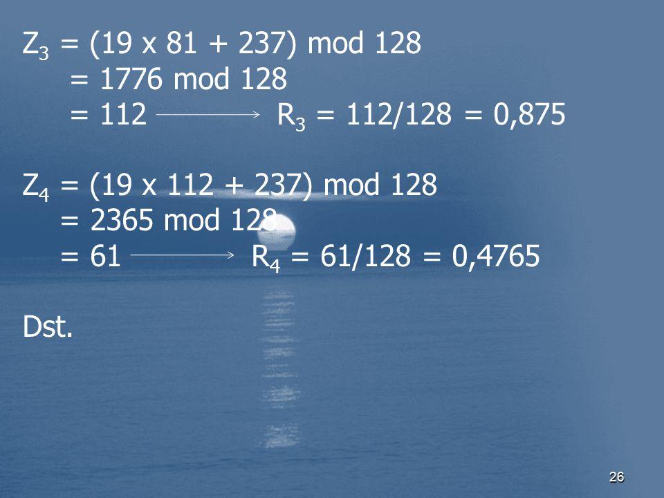 26 Z 3 = (19 x 81 + 237) mod 128 = 1776 mod 128 = 112 R 3 = 112/128 = 0,875 Z 4 = (19 x 112 + 237) mod 128 = 2365 mod 128 = 61 R 4 = 61/128 = 0,4765 D