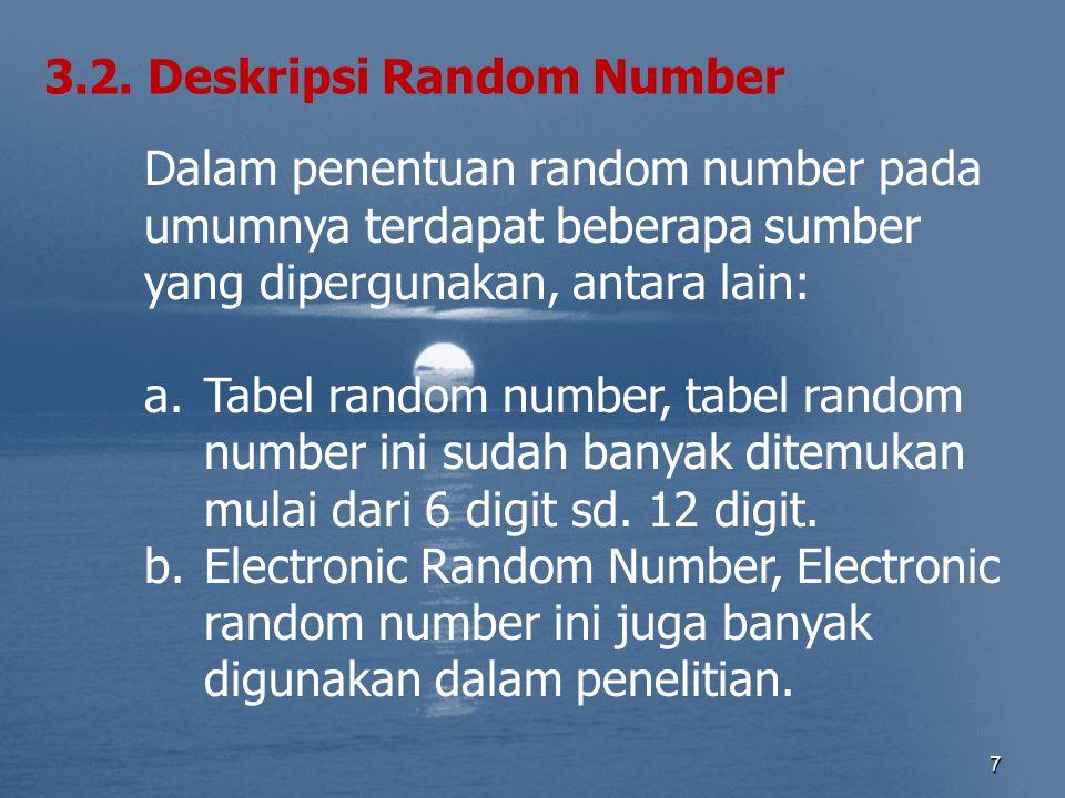 7 3.2. Deskripsi Random Number Dalam penentuan random number pada umumnya terdapat beberapa sumber yang dipergunakan, antara lain: a.Tabel random numb