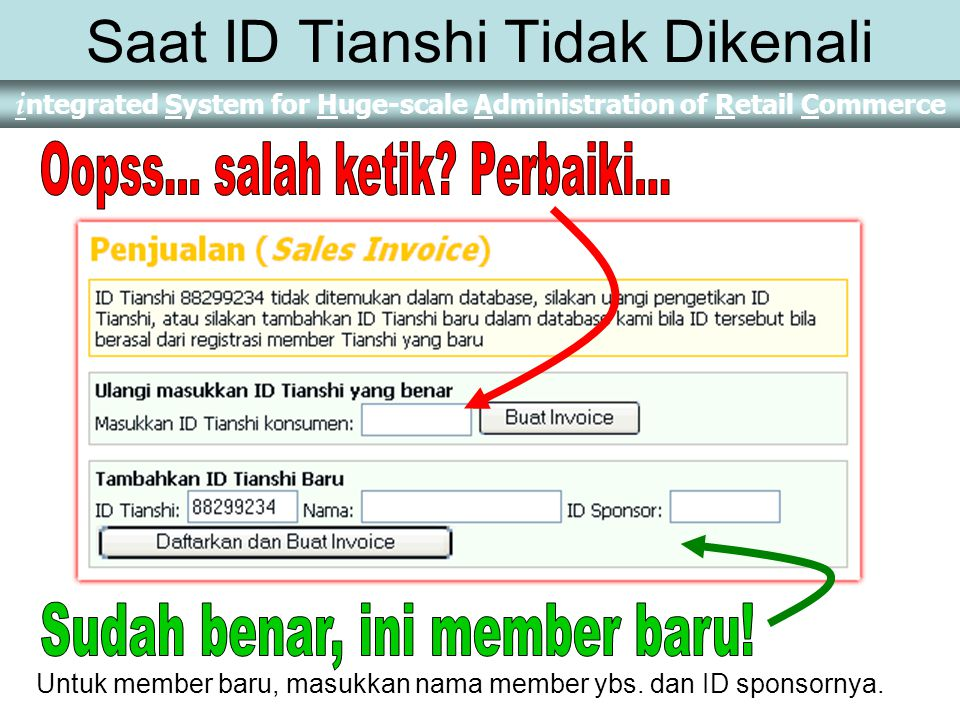 i ntegrated System for Huge-scale Administration of Retail Commerce Melakukan Penjualan Klik tombol Penjualan dari menu utama Penjualan Lalu masukkan nomor ID Tianshi Pembeli 88299234 Kemudian klik tombol Buat Invoice