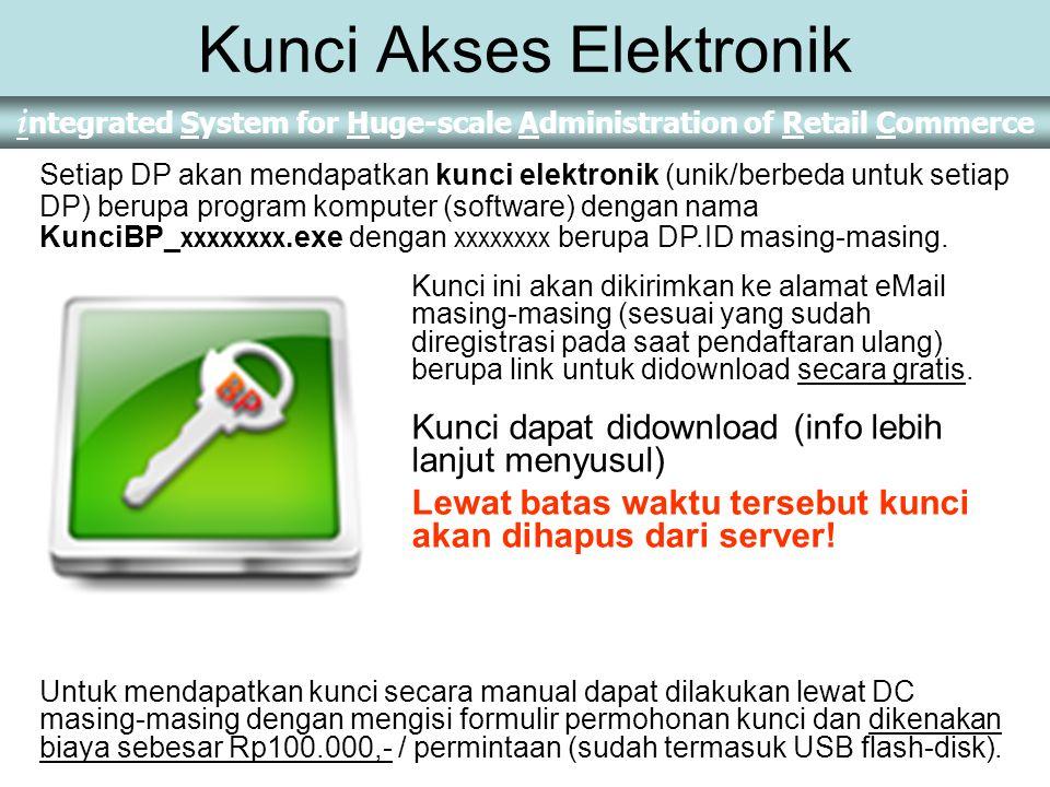 Kunci Akses Elektronik Kunci ini akan dikirimkan ke alamat eMail masing-masing (sesuai yang sudah diregistrasi pada saat pendaftaran ulang) berupa link untuk didownload secara gratis.