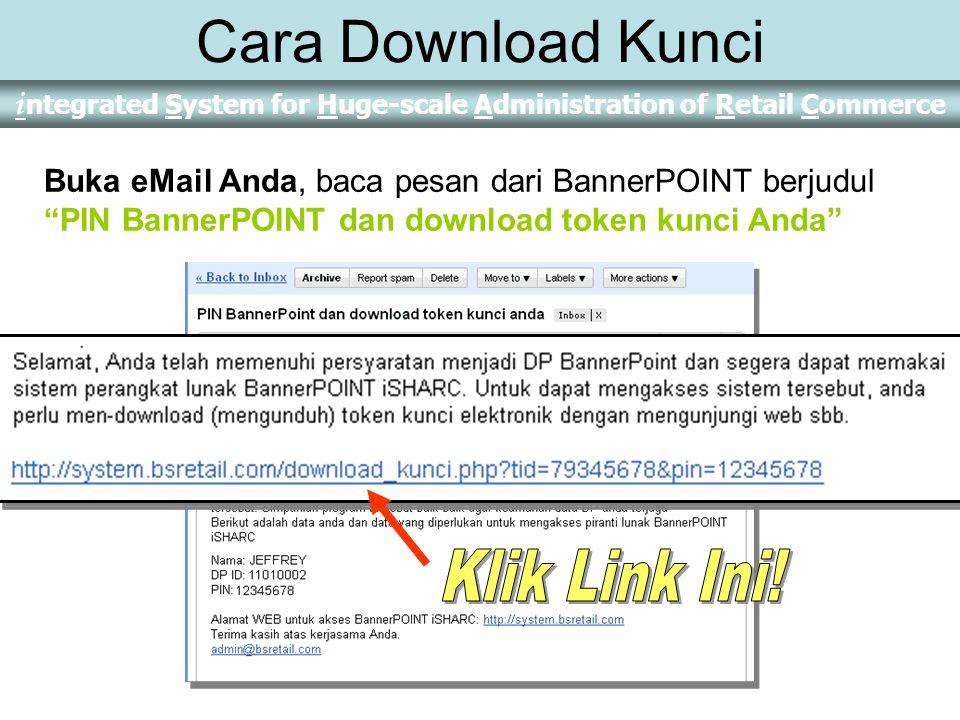 Cara Download Kunci Buka eMail Anda, baca pesan dari BannerPOINT berjudul PIN BannerPOINT dan download token kunci Anda