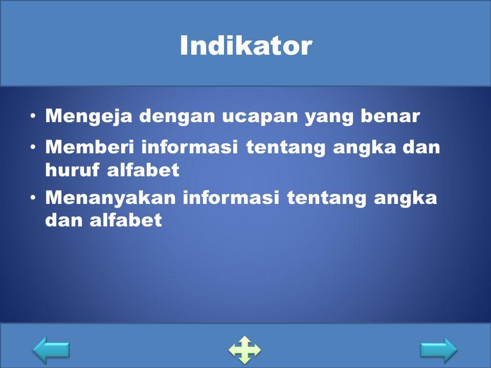 Indikator Mengeja dengan ucapan yang benar Memberi informasi tentang angka dan huruf alfabet Menanyakan informasi tentang angka dan alfabet
