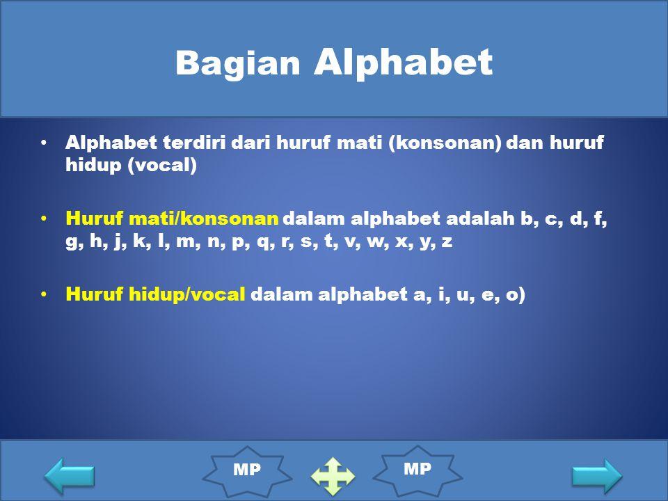 Bagian Alphabet Alphabet terdiri dari huruf mati (konsonan) dan huruf hidup (vocal) Huruf mati/konsonan dalam alphabet adalah b, c, d, f, g, h, j, k, l, m, n, p, q, r, s, t, v, w, x, y, z Huruf hidup/vocal dalam alphabet a, i, u, e, o) MP