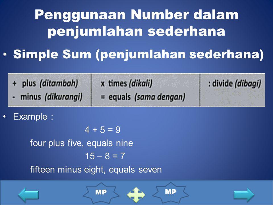 Simple Sum (penjumlahan sederhana) Example : 4 + 5 = 9 four plus five, equals nine 15 – 8 = 7 fifteen minus eight, equals seven Penggunaan Number dalam penjumlahan sederhana MP