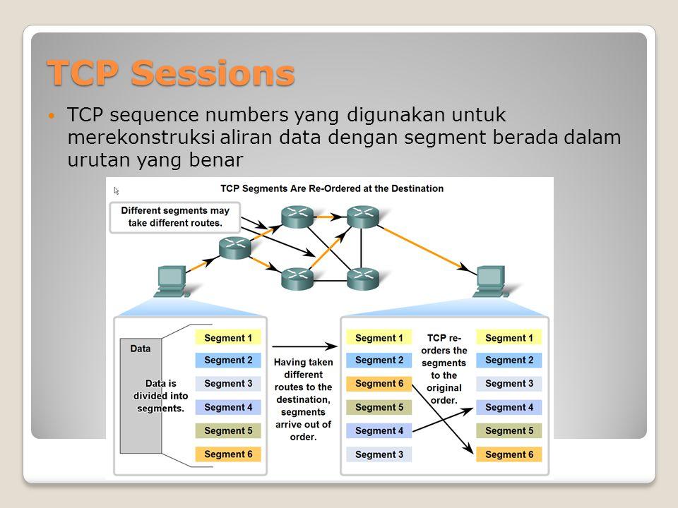 TCP Sessions sequence numbers and acknowledgement numbers digunakan untuk mengelola pertukaran dlm percakapan