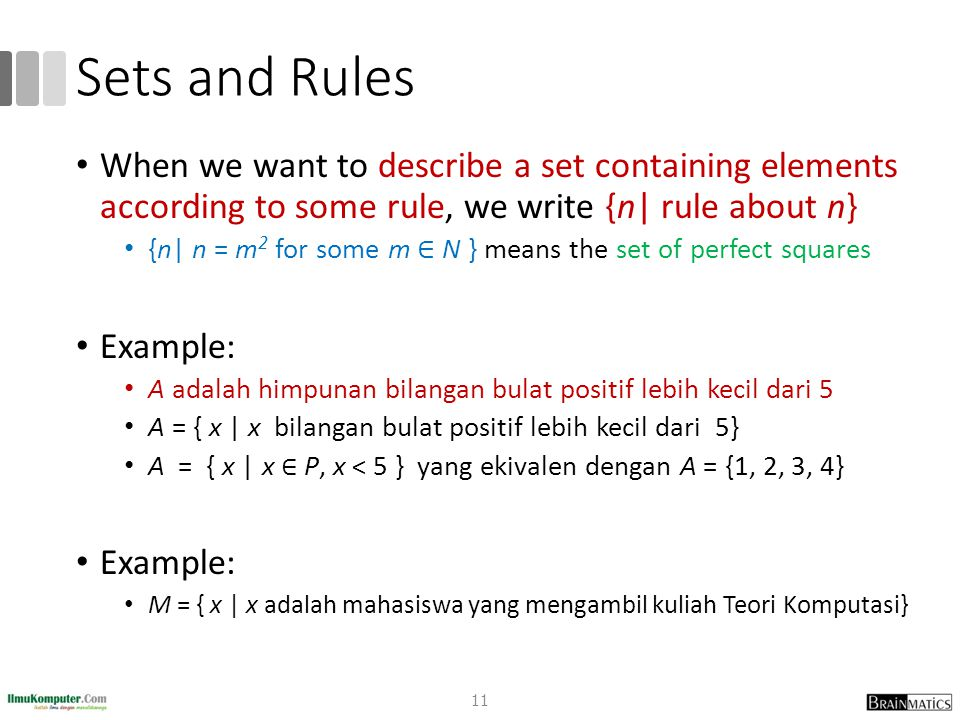 Sets and Rules When we want to describe a set containing elements according to some rule, we write {n| rule about n} {n| n = m 2 for some m ∈ N } mean