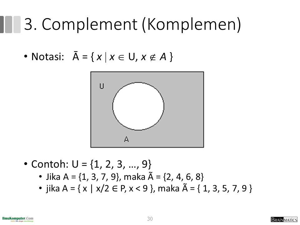 3. Complement (Komplemen) Notasi: Ā = { x  x  U, x  A } Contoh: U = {1, 2, 3, …, 9} Jika A = {1, 3, 7, 9}, maka à = {2, 4, 6, 8} jika A = { x | x/2