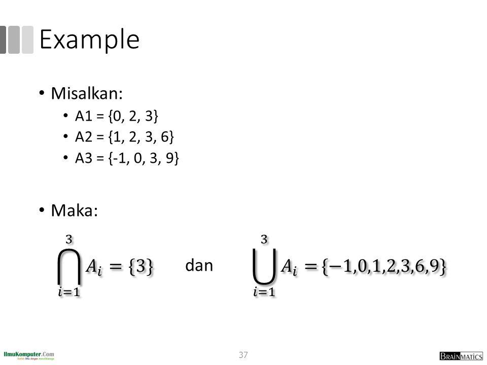 Example Misalkan: A1 = {0, 2, 3} A2 = {1, 2, 3, 6} A3 = {-1, 0, 3, 9} Maka: dan 37