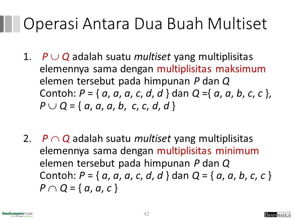 Operasi Antara Dua Buah Multiset 1. P  Q adalah suatu multiset yang multiplisitas elemennya sama dengan multiplisitas maksimum elemen tersebut pada h