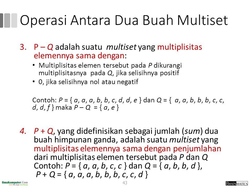 Operasi Antara Dua Buah Multiset 3.P – Q adalah suatu multiset yang multiplisitas elemennya sama dengan: Multiplisitas elemen tersebut pada P dikurang
