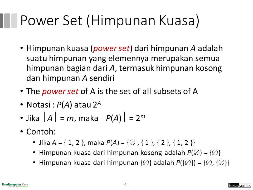 Power Set (Himpunan Kuasa) Himpunan kuasa (power set) dari himpunan A adalah suatu himpunan yang elemennya merupakan semua himpunan bagian dari A, ter