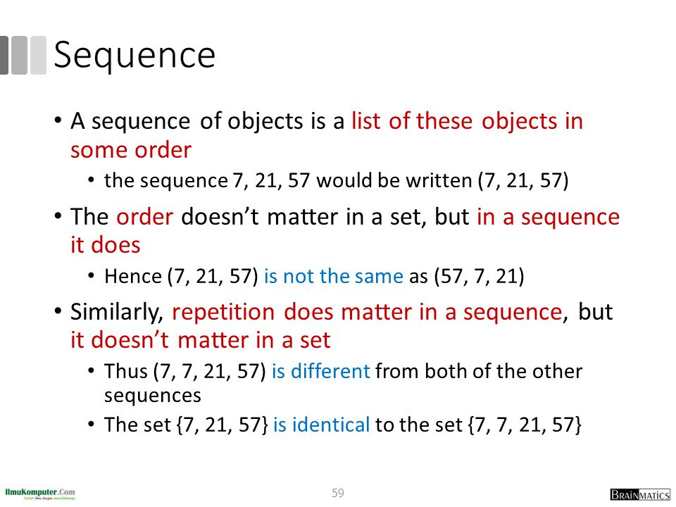 Sequence A sequence of objects is a list of these objects in some order the sequence 7, 21, 57 would be written (7, 21, 57) The order doesn't matter in a set, but in a sequence it does Hence (7, 21, 57) is not the same as (57, 7, 21) Similarly, repetition does matter in a sequence, but it doesn't matter in a set Thus (7, 7, 21, 57) is different from both of the other sequences The set {7, 21, 57} is identical to the set {7, 7, 21, 57} 59