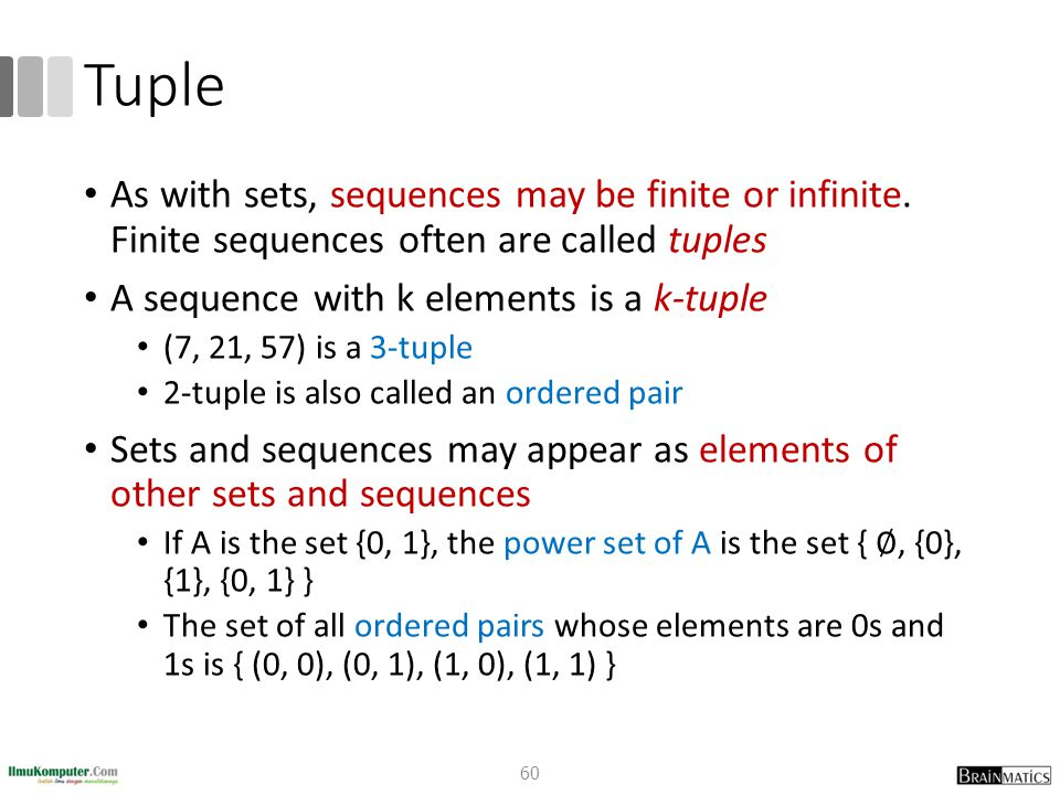 Tuple As with sets, sequences may be finite or infinite. Finite sequences often are called tuples A sequence with k elements is a k-tuple (7, 21, 57)