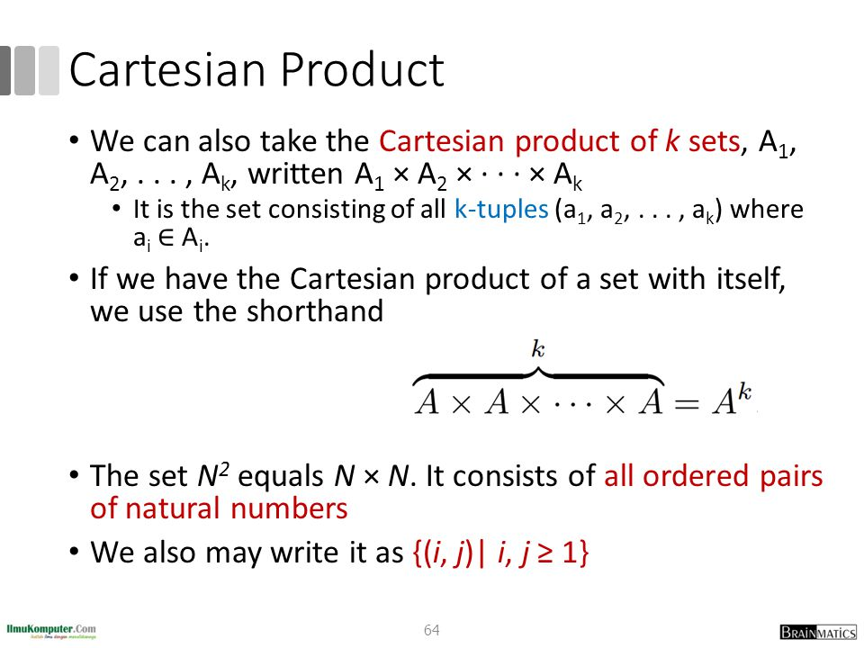 Cartesian Product We can also take the Cartesian product of k sets, A 1, A 2,..., A k, written A 1 × A 2 × · · · × A k It is the set consisting of all k-tuples (a 1, a 2,..., a k ) where a i ∈ A i.