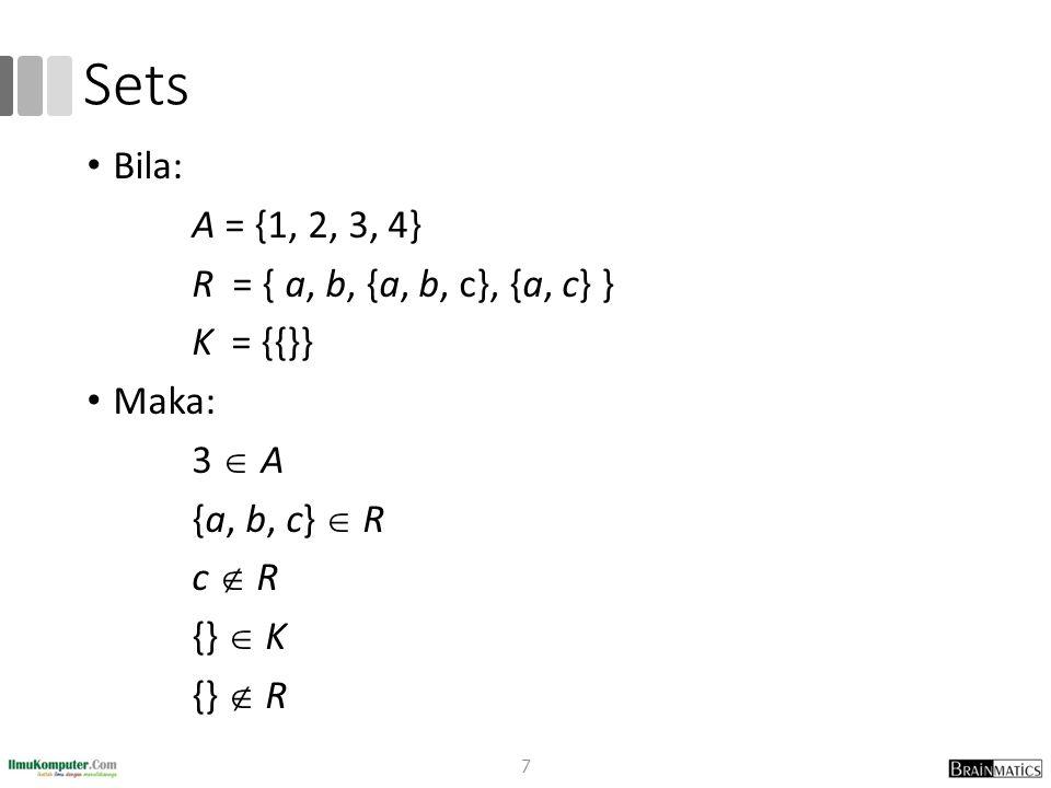 Sets Bila: A = {1, 2, 3, 4} R = { a, b, {a, b, c}, {a, c} } K = {{}} Maka: 3  A {a, b, c}  R c  R {}  K {}  R 7