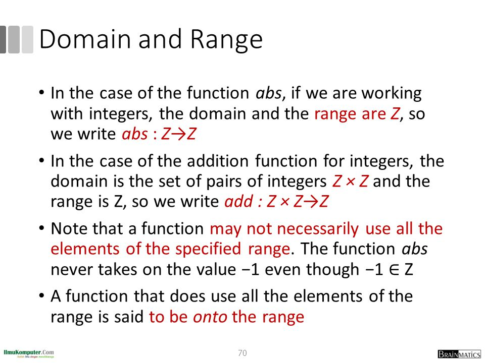Domain and Range In the case of the function abs, if we are working with integers, the domain and the range are Z, so we write abs : Z→Z In the case of the addition function for integers, the domain is the set of pairs of integers Z × Z and the range is Z, so we write add : Z × Z→Z Note that a function may not necessarily use all the elements of the specified range.