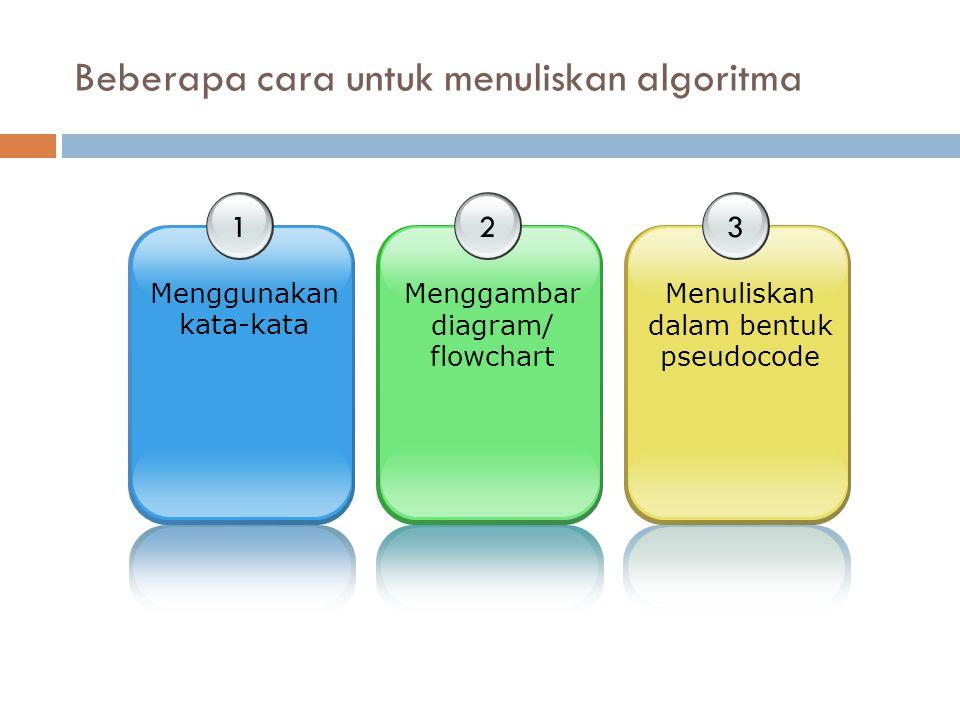 Beberapa cara untuk menuliskan algoritma 1 Menggunakan kata-kata 2 Menggambar diagram/ flowchart 3 Menuliskan dalam bentuk pseudocode