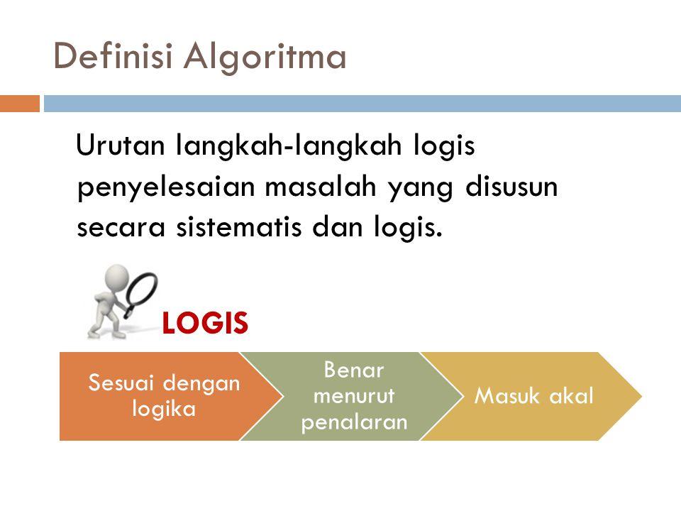 Definisi Algoritma Urutan langkah-langkah logis penyelesaian masalah yang disusun secara sistematis dan logis.