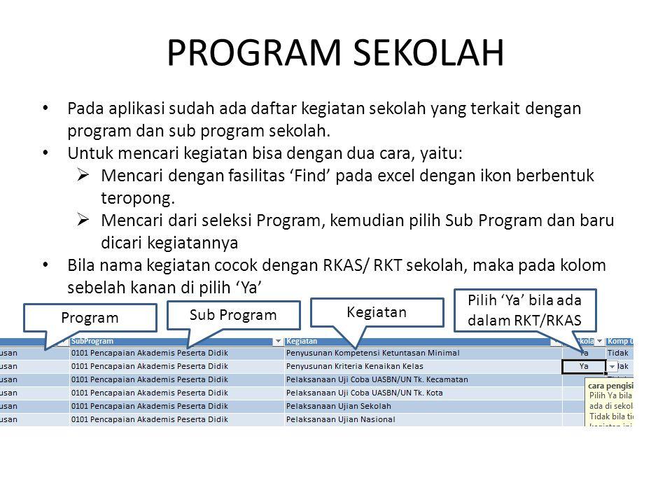 PROGRAM SEKOLAH Pada aplikasi sudah ada daftar kegiatan sekolah yang terkait dengan program dan sub program sekolah. Untuk mencari kegiatan bisa denga