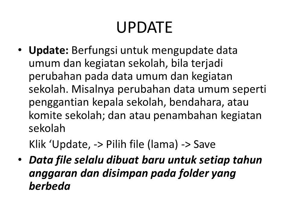 UPDATE Update: Berfungsi untuk mengupdate data umum dan kegiatan sekolah, bila terjadi perubahan pada data umum dan kegiatan sekolah. Misalnya perubah