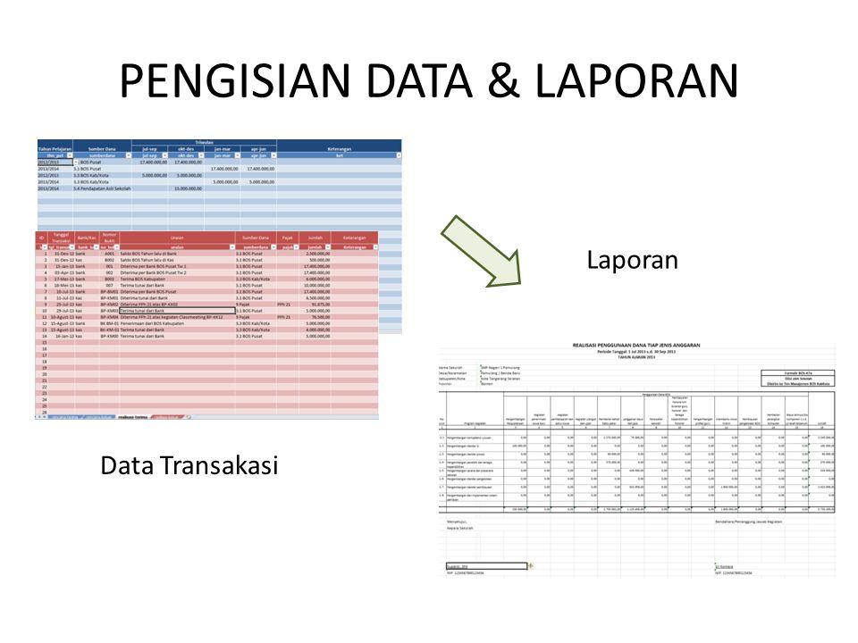 PENGISIAN DATA & LAPORAN Data Transakasi Laporan