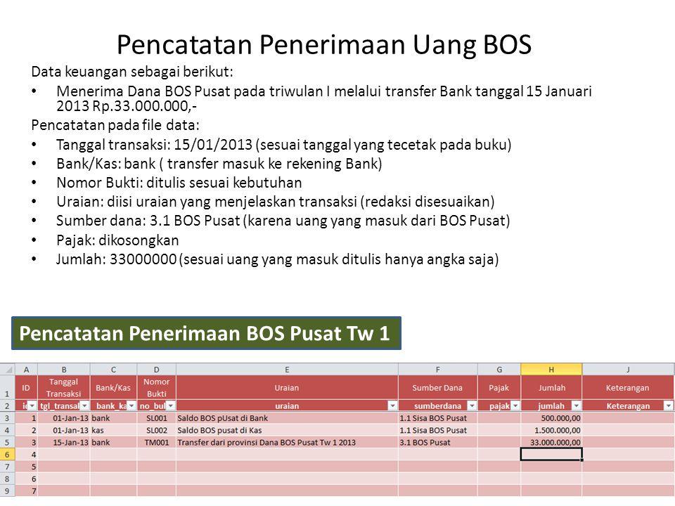 Pencatatan Penerimaan Uang BOS Pencatatan Penerimaan BOS Pusat Tw 1 Data keuangan sebagai berikut: Menerima Dana BOS Pusat pada triwulan I melalui tra