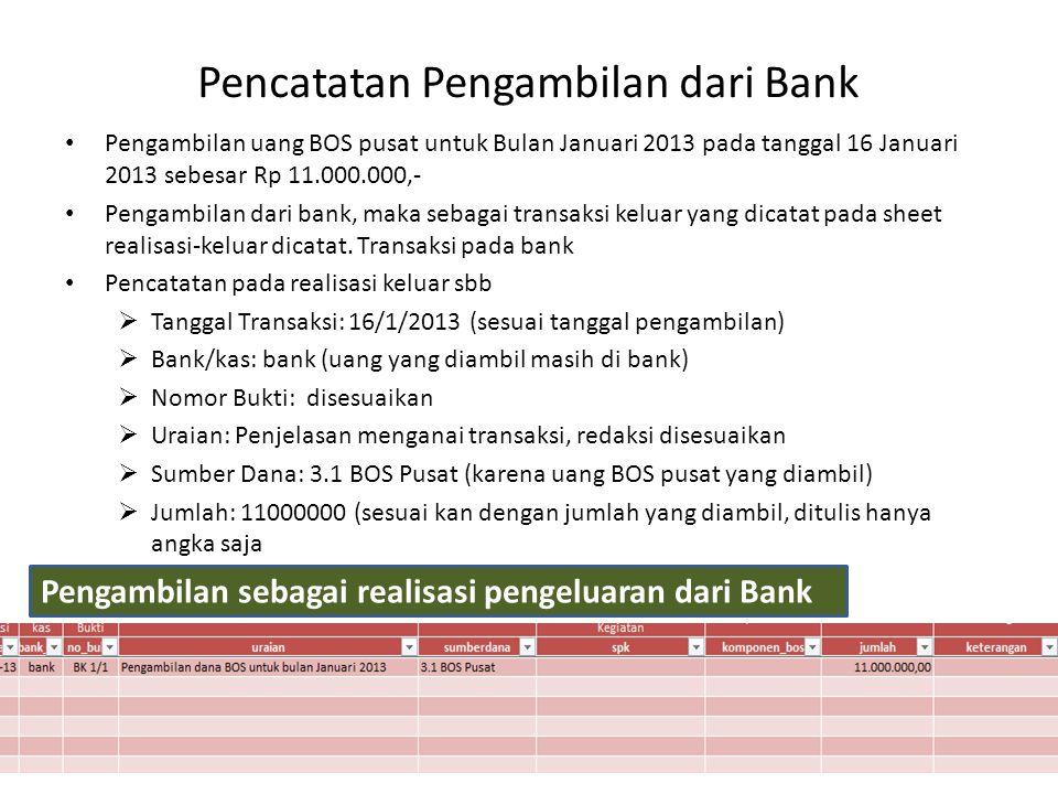 Pencatatan Pengambilan dari Bank Pengambilan uang BOS pusat untuk Bulan Januari 2013 pada tanggal 16 Januari 2013 sebesar Rp 11.000.000,- Pengambilan