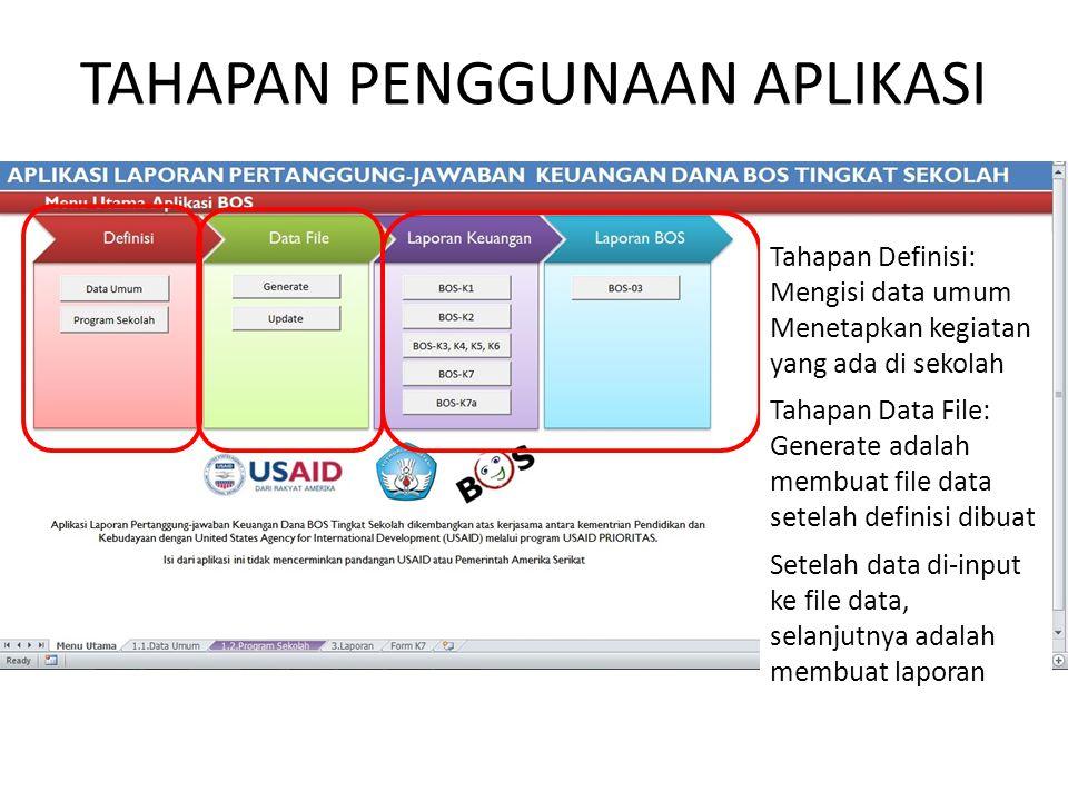 TAHAPAN PENGGUNAAN APLIKASI Tahapan Definisi: Mengisi data umum Menetapkan kegiatan yang ada di sekolah Tahapan Data File: Generate adalah membuat fil