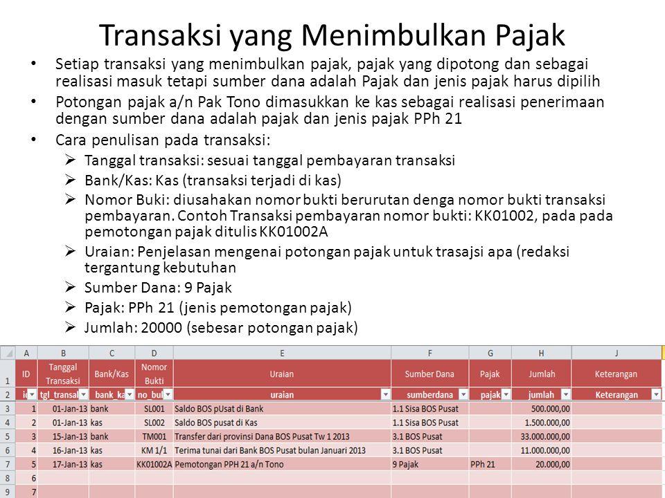 Transaksi yang Menimbulkan Pajak Setiap transaksi yang menimbulkan pajak, pajak yang dipotong dan sebagai realisasi masuk tetapi sumber dana adalah Pa