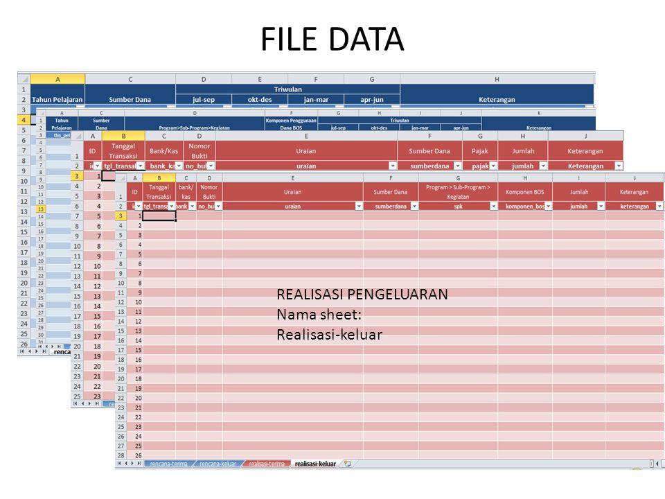 FILE DATA RENCANA PENERIMAAN Nama sheet: Rencana-terima RENCANA PENGELUARAN Nama sheet: Rencana-keluar REALISASI PENERIMAAN Nama sheet: Realisasi-teri